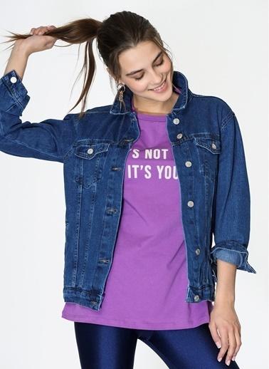 Loves You Pamuk Yıkamalı Desen Klasik Yaka Düğme Kapatmalı Çift Cepli Kadın Jean Ceket Mavi
